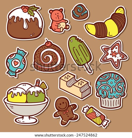 sweets stickers set. Second part of vector doodle collection of hand drawn sweets  icons  - stock vector