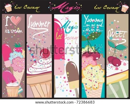 Sweets vertical banners, with ice cream. - stock vector