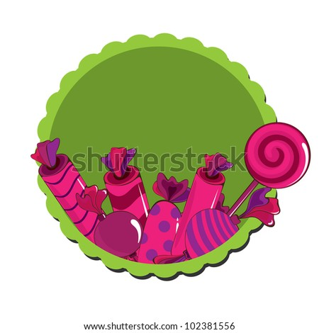 Sweets  with frame on the white background - stock vector
