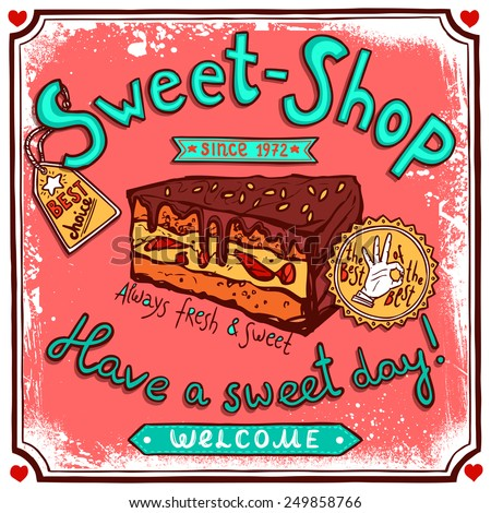 Vintage Candy Shop Collection Tin Signs Stock Vector