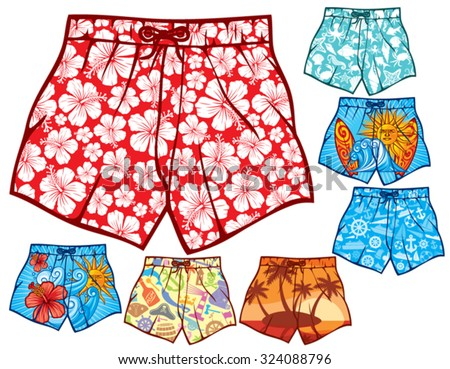 swim shorts collection (swimming trunks set, men swim shorts) - stock vector