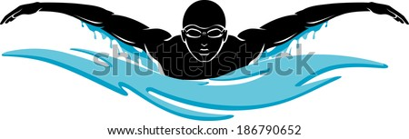 Swimmer doing butterfly style  - stock vector