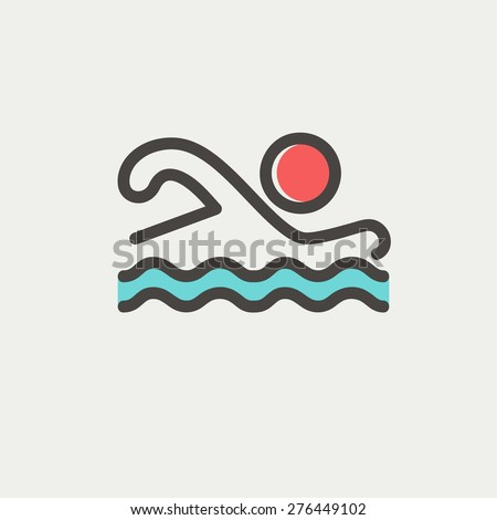 Swimmer icon thin line for web and mobile, modern minimalistic flat design. Vector icon with dark grey outline and offset colour on light grey background. - stock vector