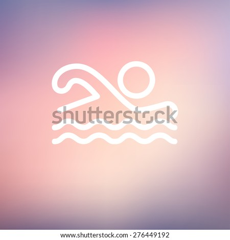 Swimmer icon thin line for web and mobile, modern minimalistic flat design. Vector white icon on gradient mesh background. - stock vector