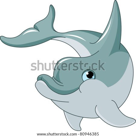 Swimming Dolphin isolated on white background - stock vector