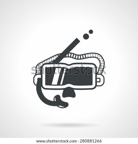 Swimming goggles and snorkel for diving and snorkeling. Flat black contour vector icon on white background. - stock vector