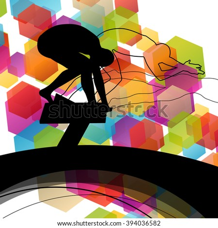 Swimming people fit and active healthy silhouettes isolated sport color abstract shape background vector illustration - stock vector