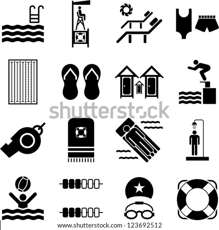Swimming Pool icons - stock vector