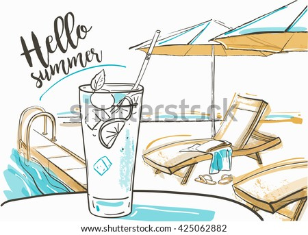 Swimming pool of luxury hotel, cocktail with fresh lime at the beach, umbrellas and  sunbeds. Summer day. - stock vector