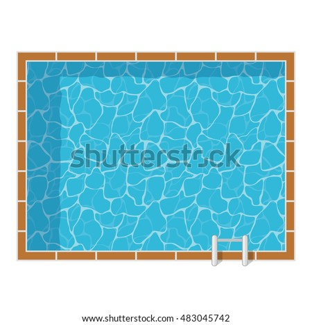Swimming Pool Top View Set Isolated On White Background Blue Water Leisure Relaxation Holiday