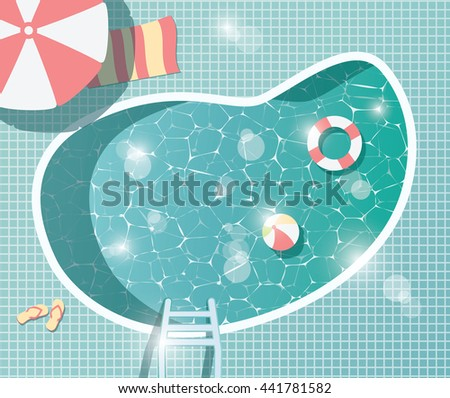 Swimming pool, top view, summer time holiday vacation, clear water with parasols, vector illustration - stock vector