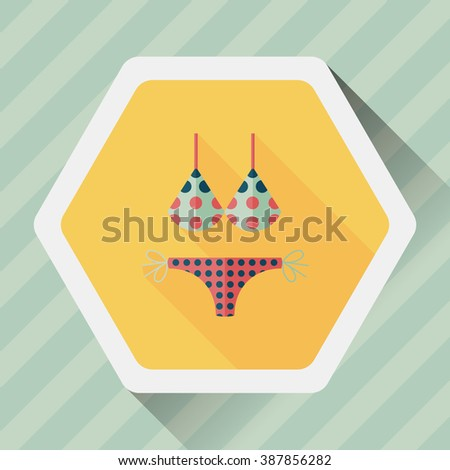 Swimming suit flat icon with long shadow - stock vector