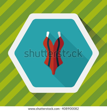 swimming suit flat icon with long shadow,eps10 - stock vector