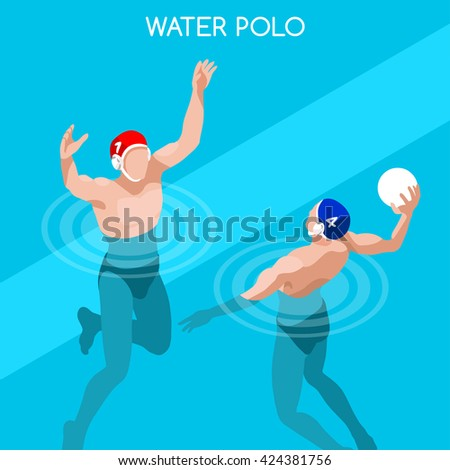 Swimming Water Polo Players 2016 Summer Games Icon Set.3D Isometric Swimmer Player.Water Polo Match Sporting Competition Race.Summer Sports Infographic Swimming Water Polo olympics Vector Illustration - stock vector