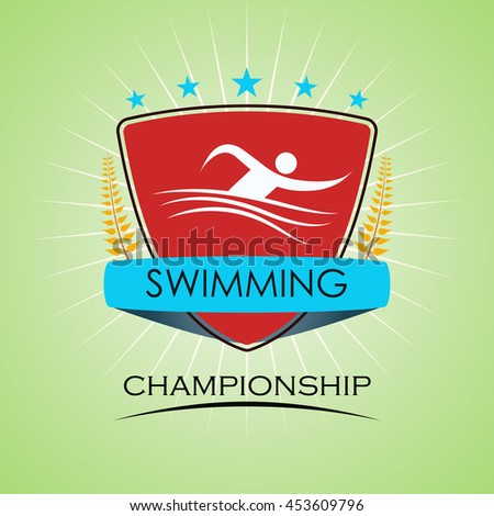 Swimming - Winner Golden Laurel Seal  - Layered EPS 10 Vector - stock vector