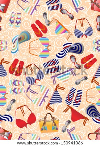 Swimsuit,beach bag,beach shoes seamless background.