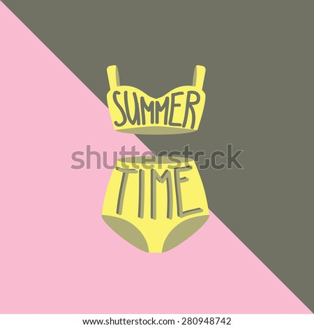 Swimsuit set. Vintage vector illustration. Typography poster 'Summer time' - stock vector