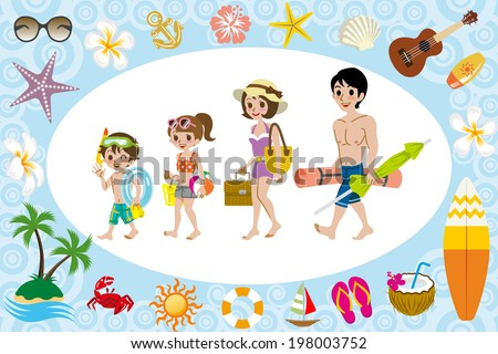 Swimwear family and sea icon - stock vector