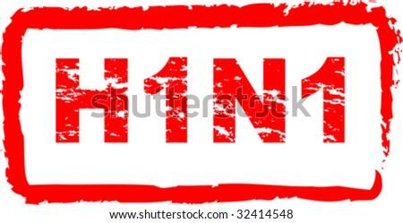 Swine flu virus stamp vector illustration - stock vector