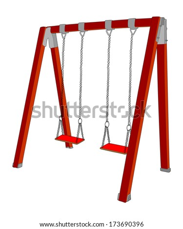 Swing in children's playground vector isolated on white background.