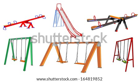 Swings, Seesaws and high slides tube set vector, isolated on white background. Children playground elements illustration. - stock vector