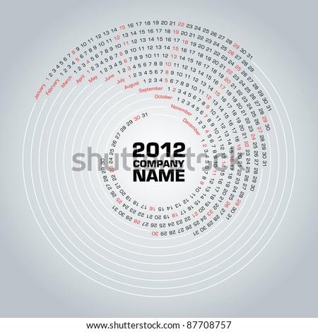 Swirl calendar 2012 - stock vector