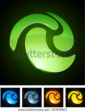 Swirl 3d vector icon such logos. - stock vector