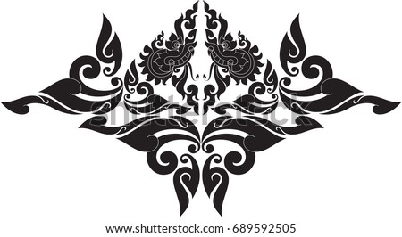 Swirl doodle tribal traditional naga head stock vector 689592505 swirl doodle tribal traditional naga head butterfly bodhi leaf bat fox and altavistaventures Gallery