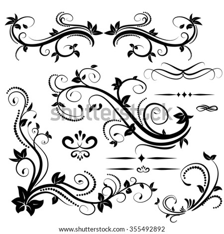 Swirl elements for design Vector illustration on white and text dividers - stock vector