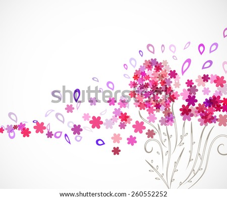 swirl floral vertical background for your design with abstract pink flowers - stock vector