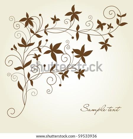 swirl flourish in silhouette - stock vector