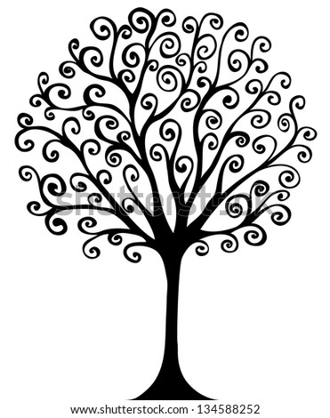 swirl hand drawn tree for design eps8