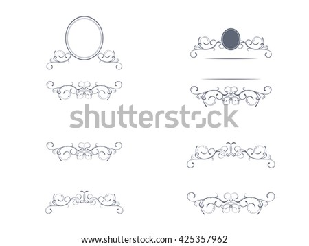 Swirl Monograms Border And Frames Collection For Decoration, Copyspace - stock vector