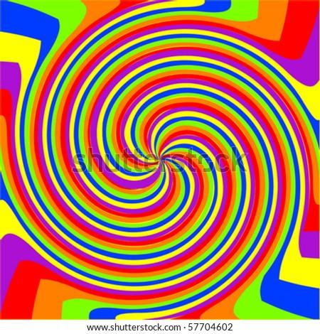 swirl rainbow composition, abstract vector art illustration - stock vector