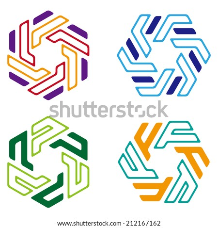 Swirl, rotation logo element. Abstract hexagon pattern. Colorful icons set. You can use in the machine, commerce, mathematics, architecture, medical and communication concept of pattern. - stock vector
