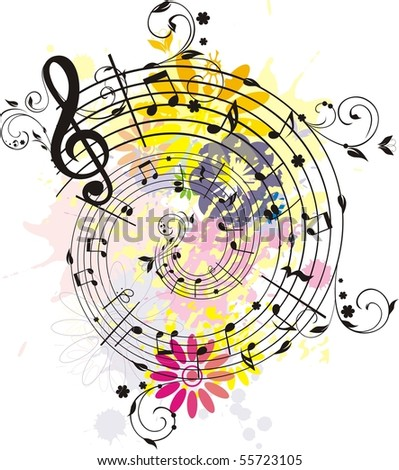 Swirling colored melody,each element has own layer - stock vector