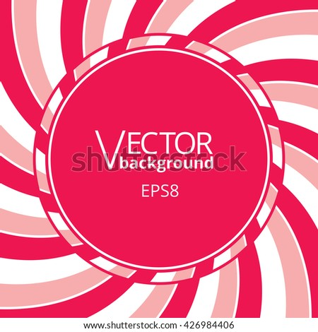 Swirling radial vortex background. Pink, red and white stripes swirling around the round blank badge in center of the square. Vector illustration in EPS8 format. - stock vector