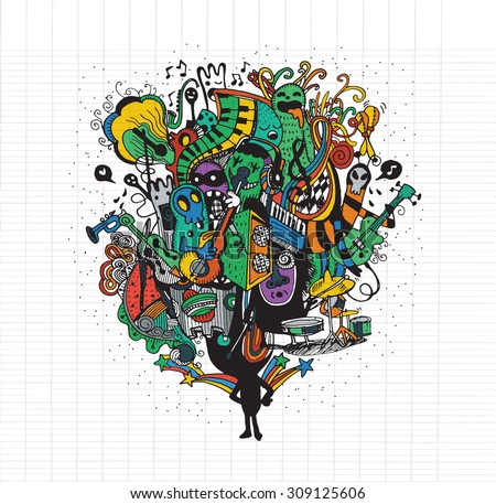 Swirls and Curls Hand Drawn Floral ornament black and white background with stylish hand drawn doodle.Vector Illustration - stock vector