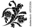 Swirls and flowers. Elegance vector illustration in black. - stock vector