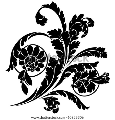 Swirls and flowers. Elegance vector illustration in black.