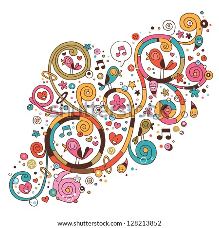 Swirls, flowers, hearts and birds - stock vector