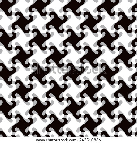 Swirly abstract pattern in grey repeats seamlessly. - stock vector