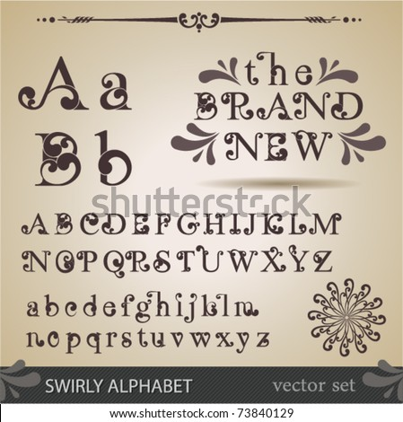 Swirly Alphabet. - stock vector