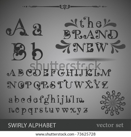 Swirly Alphabet. Highly detailed vector illustration. - stock vector