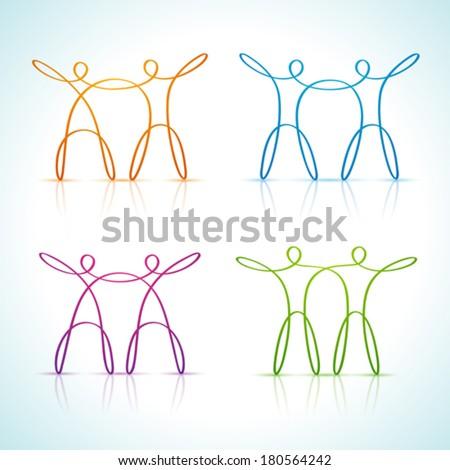 Swirly line couple figures - stock vector