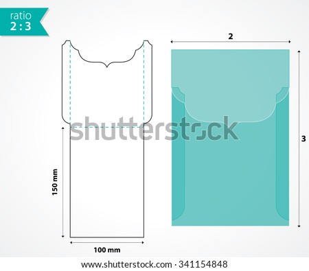 swirly pocket envelope mockup wedding invitation stock vector