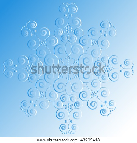 Swirly snowflake imprint - stock vector