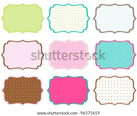 Swirly Tag Set for Scrap booking - stock vector