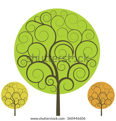 Swirly tree vector shape isolated on white background. - stock vector