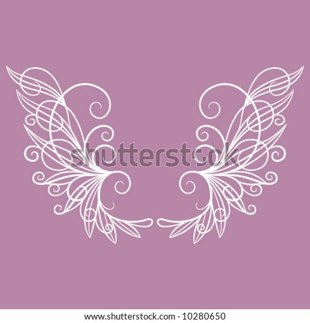 Swirly Wire Wings - stock vector